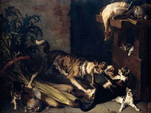 François_Desportes_-_A_Dog_and_a_Cat_Fighting_in_a_Kitchen_Interior_-_WGA06322