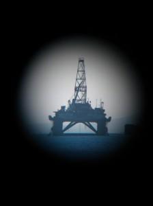 Oil rig in the Caspian Sea by Mark Ireland.