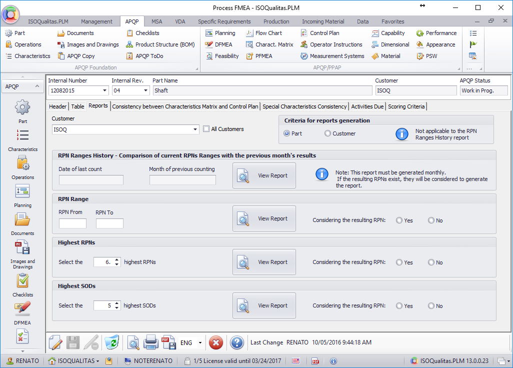 <b>FMEA</b> (Screenshot 2)<br>Reports aid identifying the most important Failure Modes and respective actions.