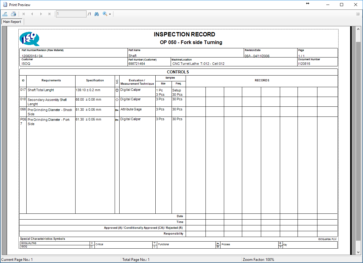 <b>Work Instructions</b> (Screenshot 5)<br>Inspection Records can be Printed or Operators can register the inspections results at the Inspection Records module for a paperless approach. In this case capability analysis is automatically performed.